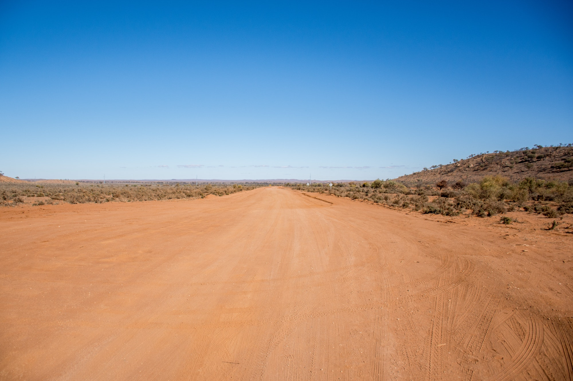 An outback country road near Broken Hill, New South Wales, Australia